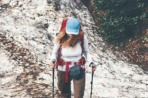 Woman Traveler trail running