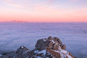 Vivid sunset above the fog