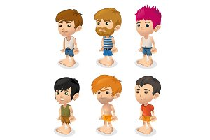 Vector set of men, cartoon people