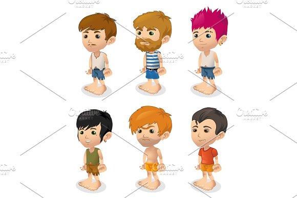 Vector Set Of Men Cartoon People