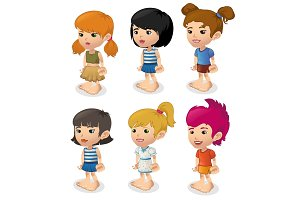 Vector cartoon set of girls in summer clothes