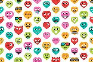 Set heart emoticons