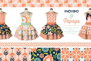 Indigo and Papaya Vector Patterns