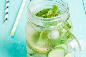 Detox cocktail with cucumber
