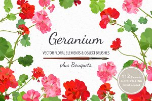 Vector object brushes. Geranium.
