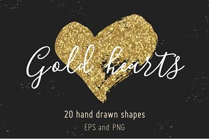 Gold glitter hand drawn hearts