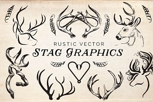 16 Rustic Stag Graphics