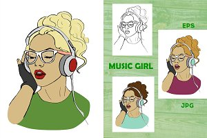 MUSIC GIRL. Vector illustrations
