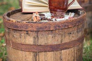 still life on the old oak barrel autumn