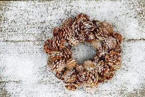 Natural Pine Cone Wreath on Snow