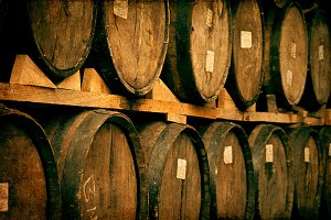 Wine barrels stacked tequila