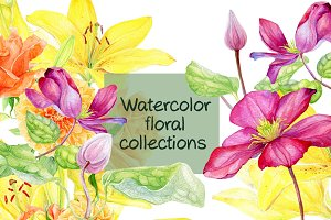 Watercolor floral collection.Pattern