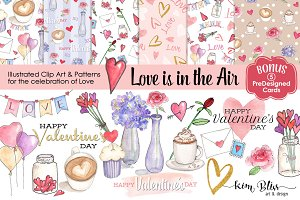Watercolor Love Clip Art/Patterns+