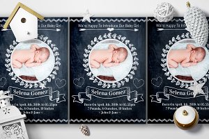 Chalk Styles Baby Birth Cards