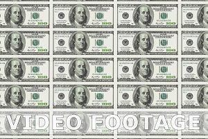 Sheet of 100 dollar bill. Looped.