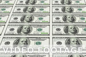 100 dollar bills in distance 3d perspective looped