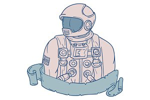 Astronaut Bust Ribbon Drawing