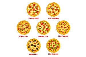 Pizza fast food vector isolated pizzeria icons set