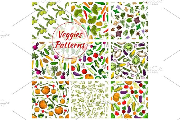 Veggies Vector Seamless Patterns Set Of Vegetables