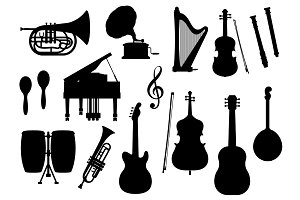 Musical instruments vector silhouette icons