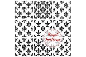 Royal floral vector seamless patterns set