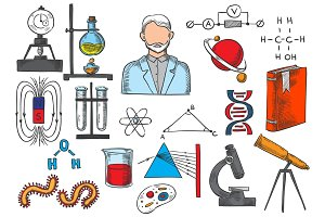 Science items vector sketch icons