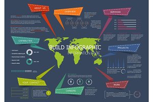 Web site landing page infographics vector design