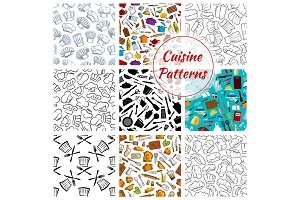 Cuisine kitchenware vector seamless pattern