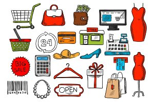 Shopping and retail sketch isolated vector icons