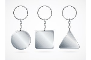 Realistic Metal Keychains Set.