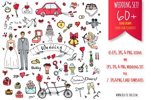 60+ Hand drawn Wedding Elements!