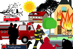 Firefighter Scene Design Elements