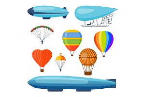 Ballon aerostat transport vector set.