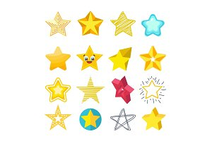 Shiny star icons in different style isolated vector