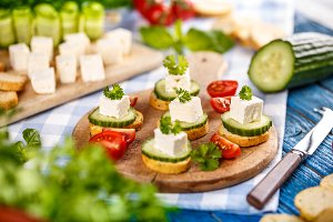 Bruschetta with feta cheese
