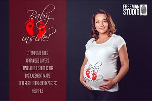 Pregnant Woman T-Shirt Mock-Up