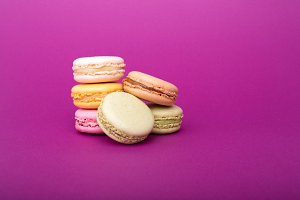 Sweet colorful French macaron