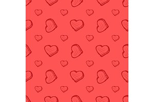 Valentines Day pink seamless pattern with hearts