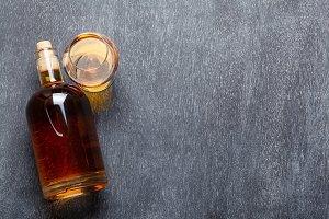 Bourbon on blackboard