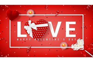 Red banner for Valentine's Day