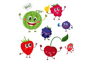 Set of cute and funny comic berry characters
