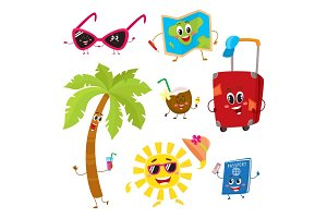 Attributes of summer vacation, travel to tropics as funny characters