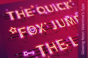 Glowing Valentine's Neon Type