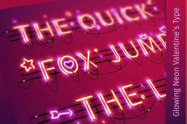 Glowing Valentine's Neon Type