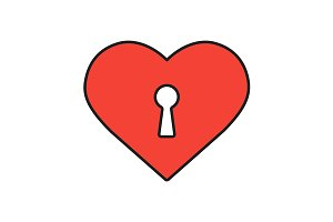 Heart with keyhole icon. Vector