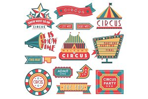 Circus vintage labels banner vector illustration isolated on white