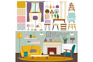 Interior details flat style design vector elements