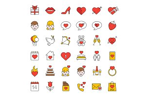 Valentine's Day. 36 icons. Vector