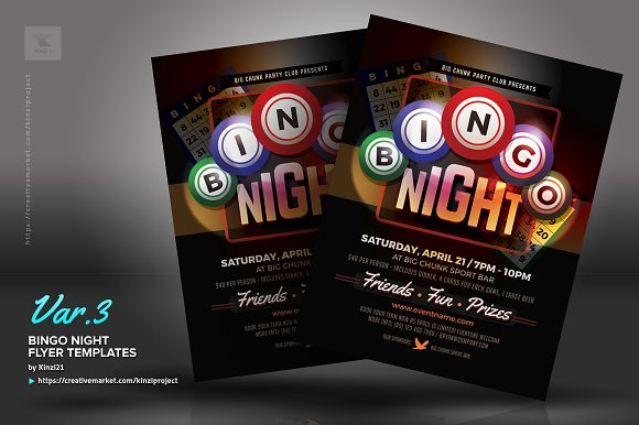 Bingo Night Flyer Templates Flyer Templates Creative Market