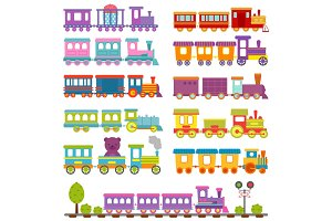 Toy train different cartoon vector illustration.
